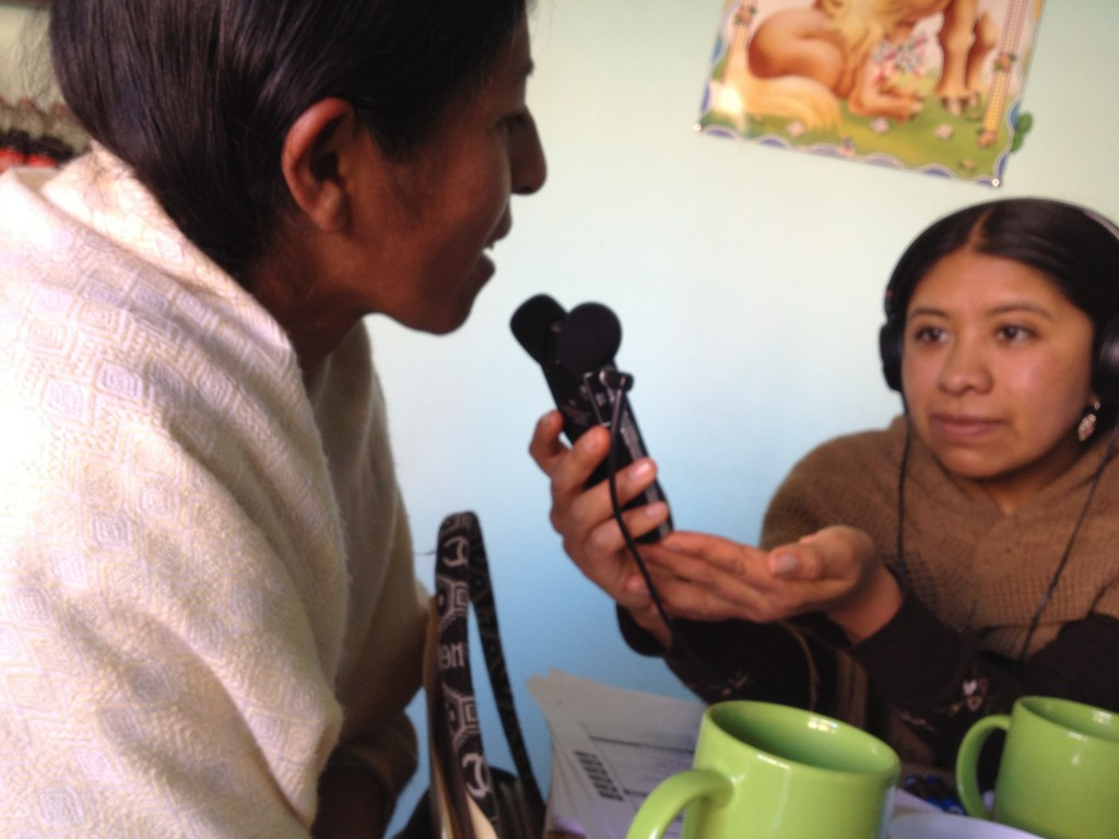 Norma Barrancos practicing with the new digital audio recorders by interviewing Victoria Tinta